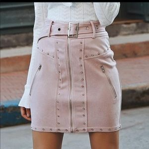 Pink suede skirt with silver studs
